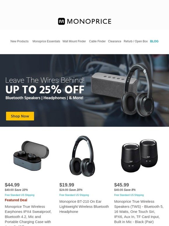 Monoprice com: True Wireless Earphones $44 99 Free Shipping