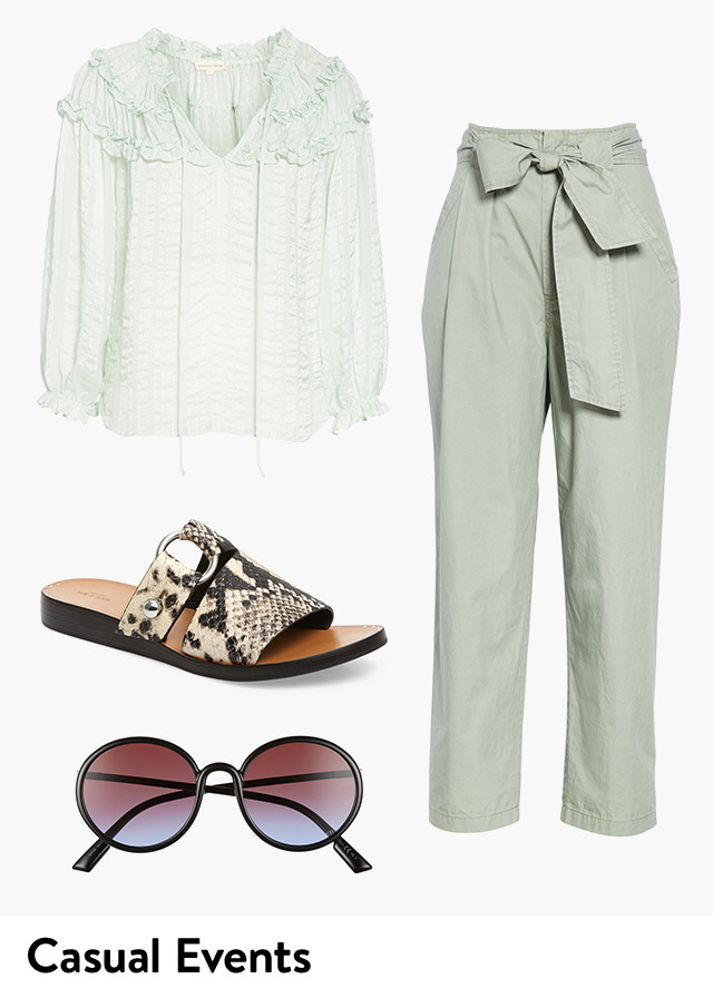 Women's clothing for casual spring events.