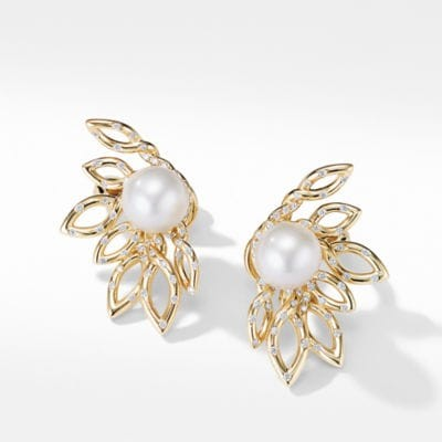 Continuance Pearl Stud Earrings with Diamonds