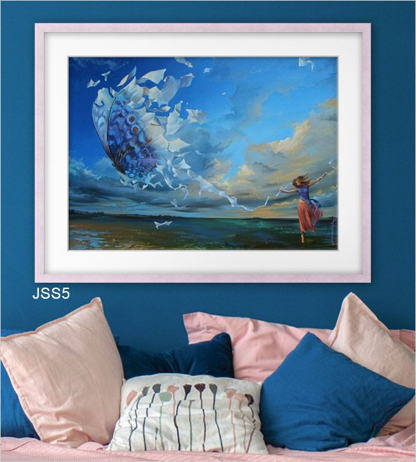Surrealist painting framed in soft pink Jane Seymour frame JSS5 with white mat.