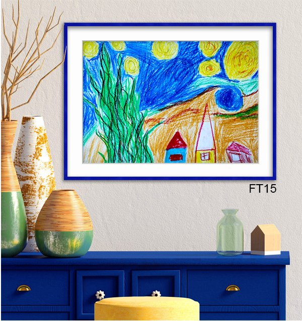Child's rendition of Starry Starry Night framed in blue Fiesta frame FT15 with white mat.