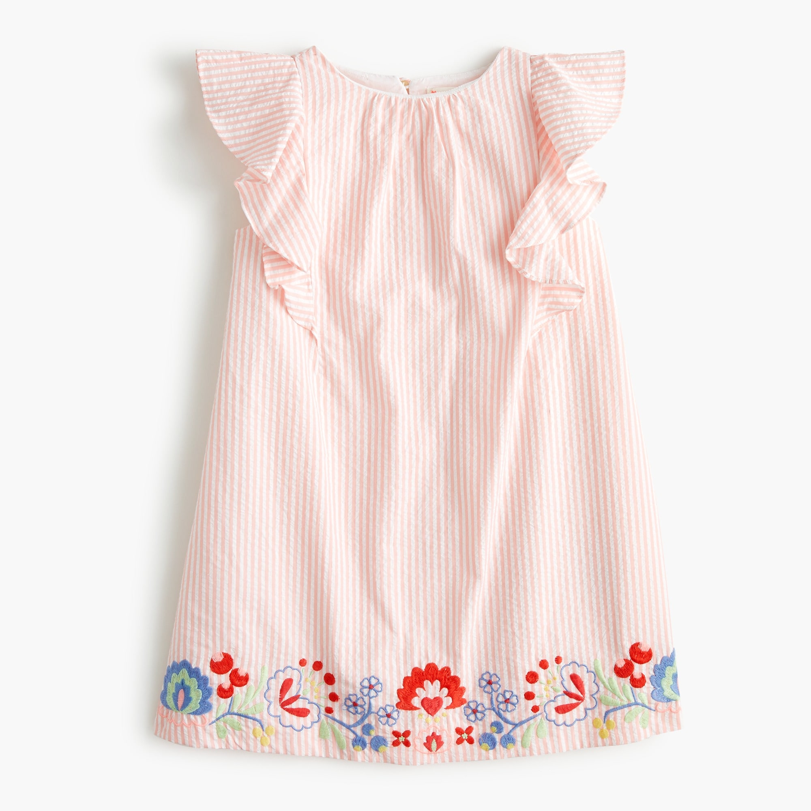 Girls' embroidered dress in seersucker