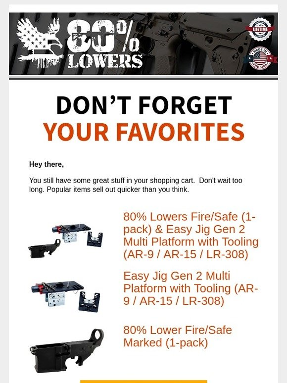 80 Lowers: ** Limited Stock Left** Grab your gear while you
