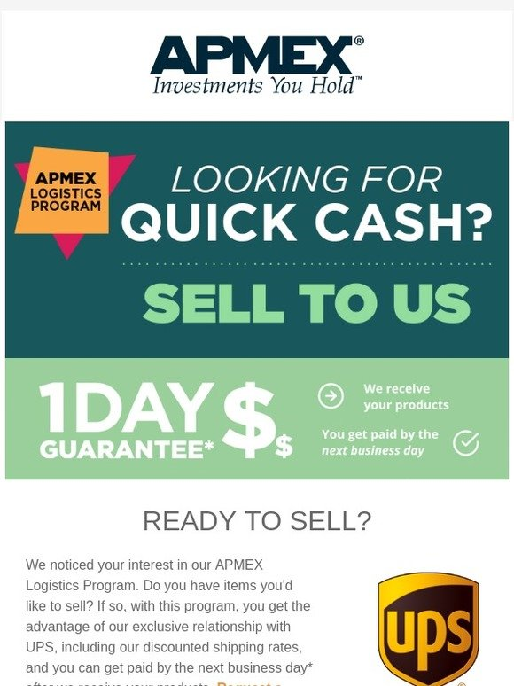 http://www apmex com: We want to pay you fast when you sell