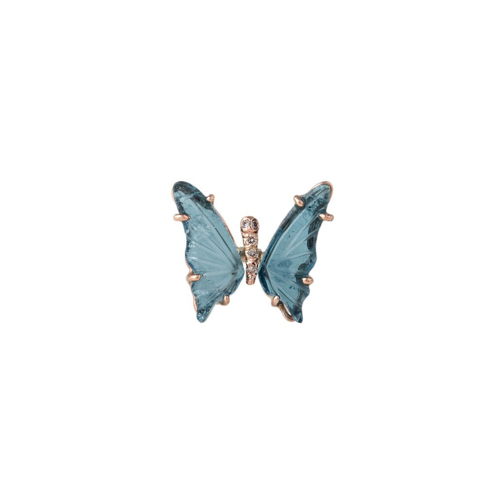 Image of BLUE TOURMALINE BUTTERFLY STUD