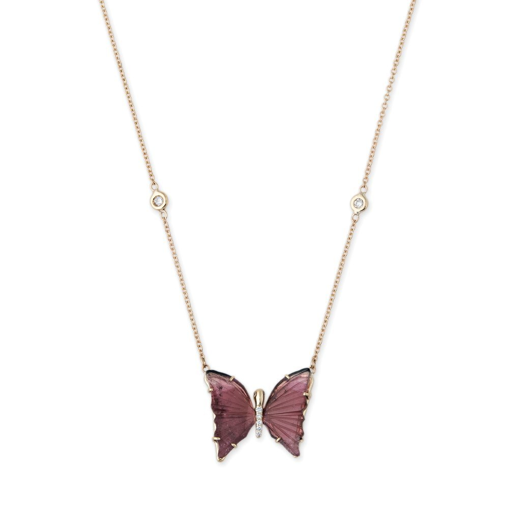 Image of MINI PINK TOURMALINE BUTTERFLY NECKLACE