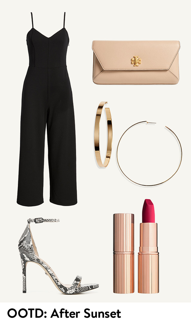 Women's outfit of the day: after sunset.