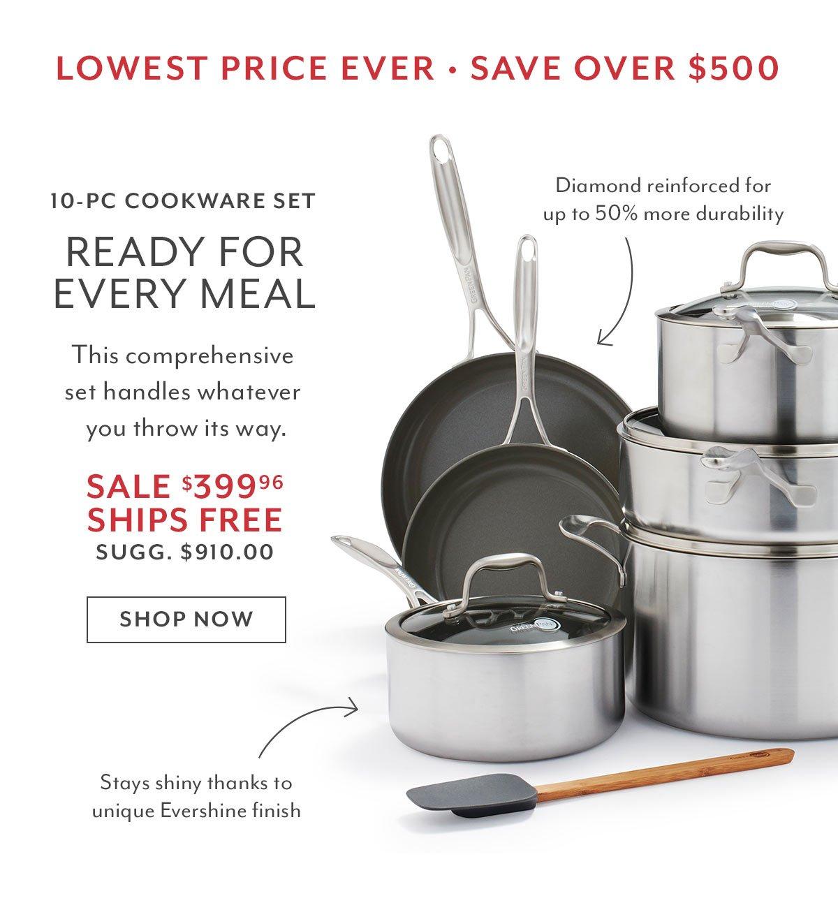 Greenpan Diamond + Evershine 10-PC Cookware Set • Save Over $500