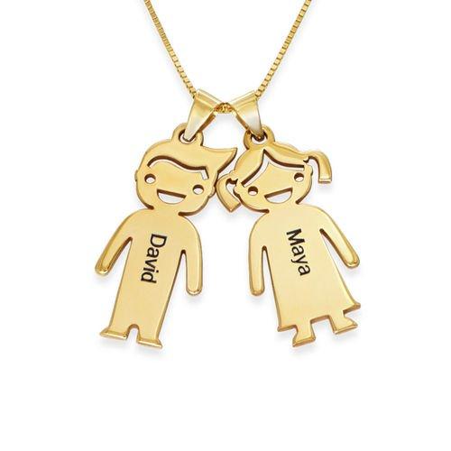 Kette für Mütter mit Kinder-Anhängern aus 417er-Gelbgold