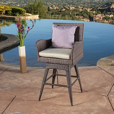 Royer 27-Inch Wicker Outdoor Swivel Arm Bar Stool