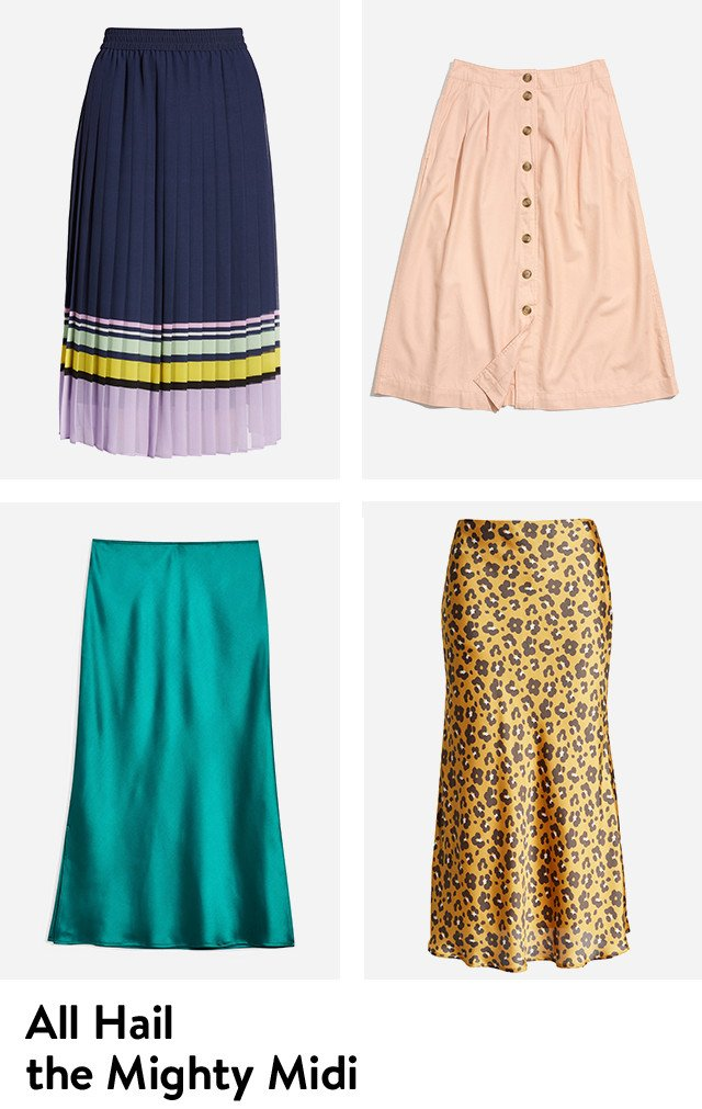 All hail the mighty midi skirt.