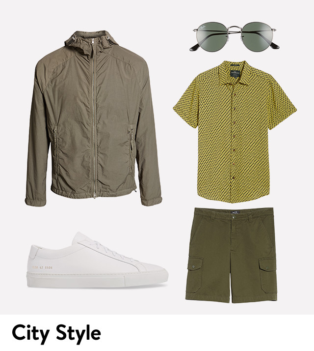 Ground safari-inspired olive tones with city style.