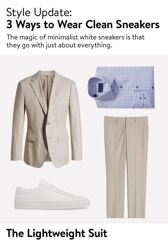 Style update: three ways to wear men's clean sneakers.