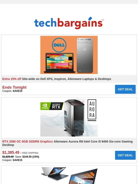 Techbargains: Last Day to Save Extra 15% on Dell PCs + Sterilite 4