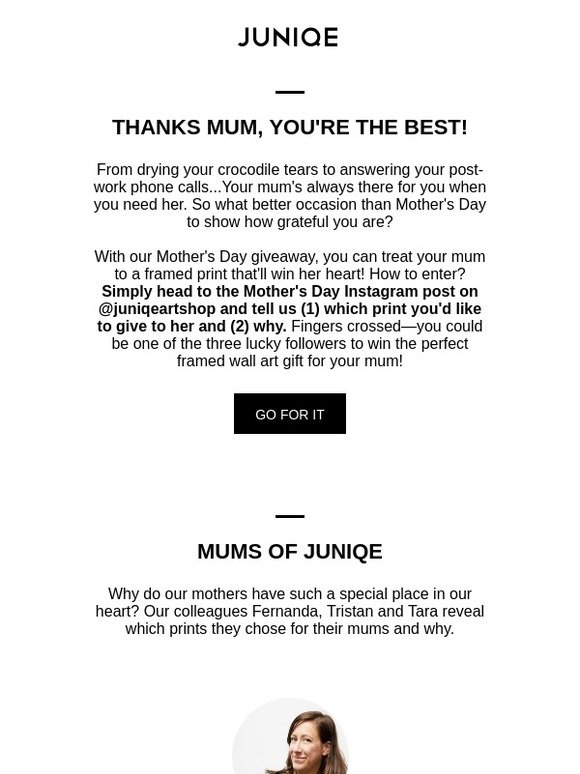 JUNIQE: Giveaway: time for your mum to shine 🌞 | Milled