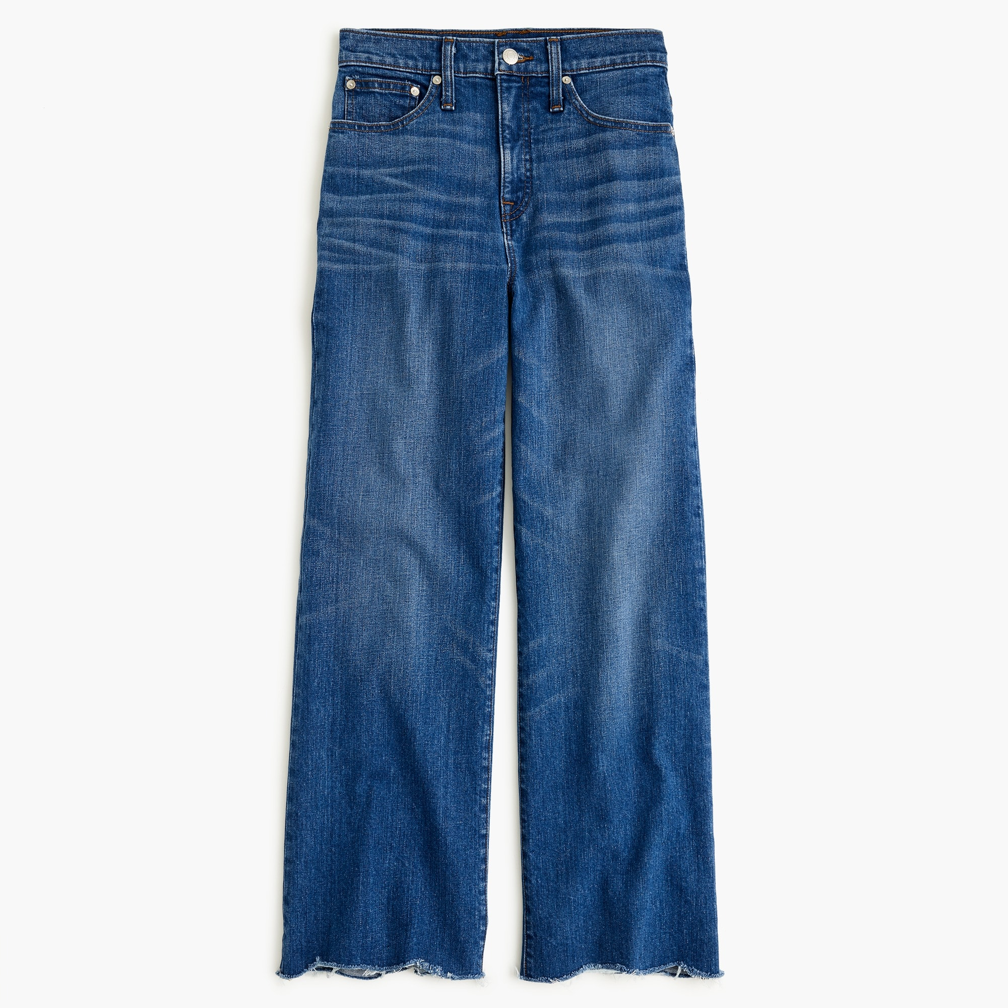 Classic Wide-leg cropped jean with chewed hems