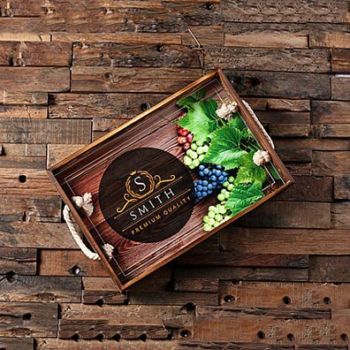Personalized Custom Wood Serving Tray House Party Customized Monogrammed Birthday Gift