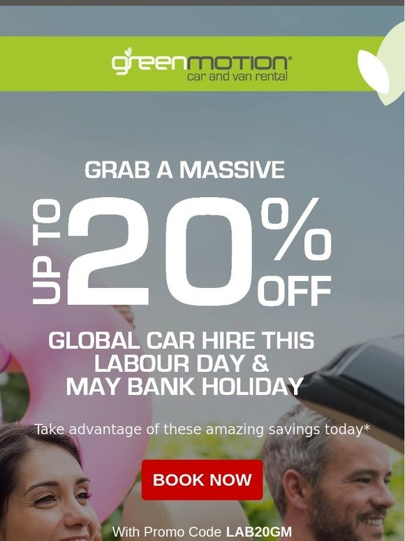 Green Motion Car and VanRental: Grab a massive up to 20% off