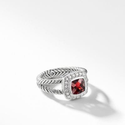 Petite Albion® Ring with Pyrope Garnet and Diamonds