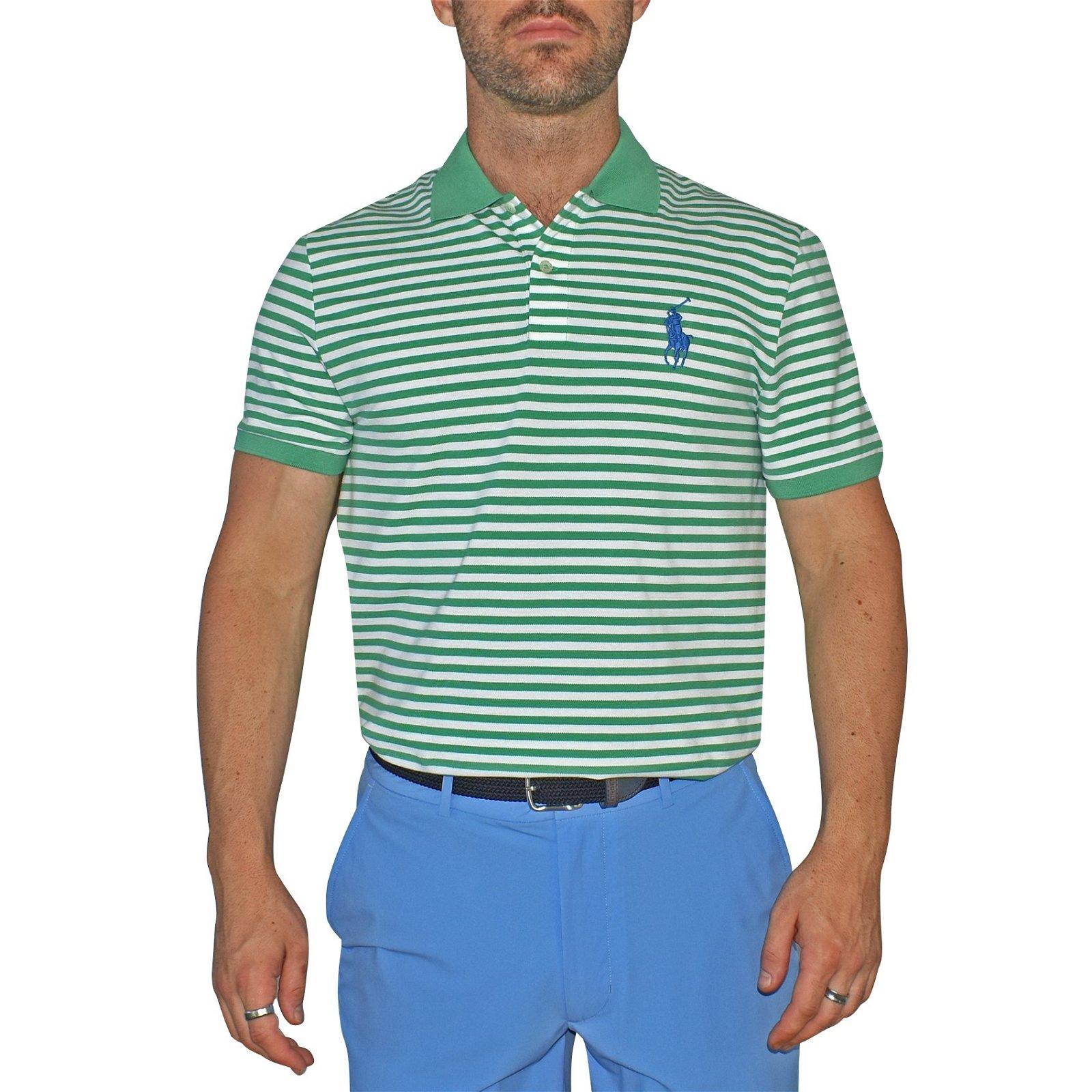 b2dfbba2 Image of Polo Golf Ralph Lauren Performance Pique Polo Shirt - Green Stripe
