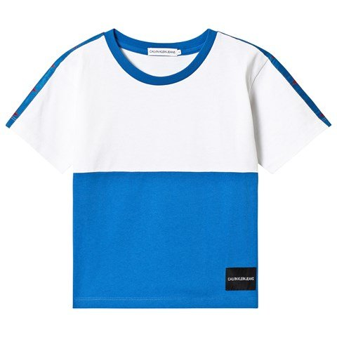 Calvin Klein Jeans White and Blue Oversized T-Shirt