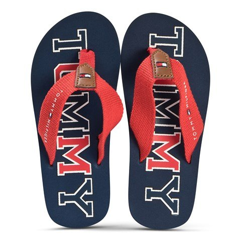 Tommy Hilfiger Navy and Red Logo Fabric Flip Flops