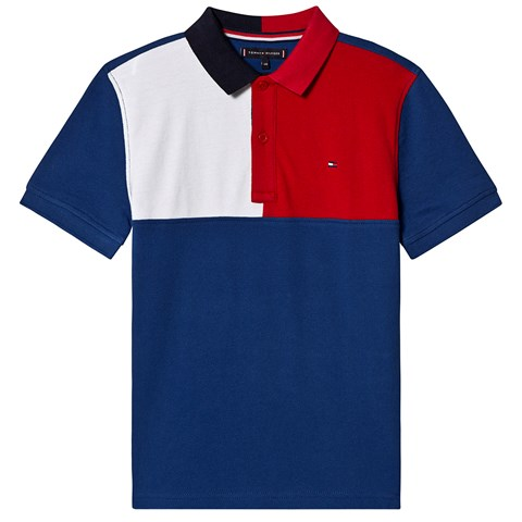 Tommy Hilfiger Blue, Red and White Colour Block Branded Pique Polo