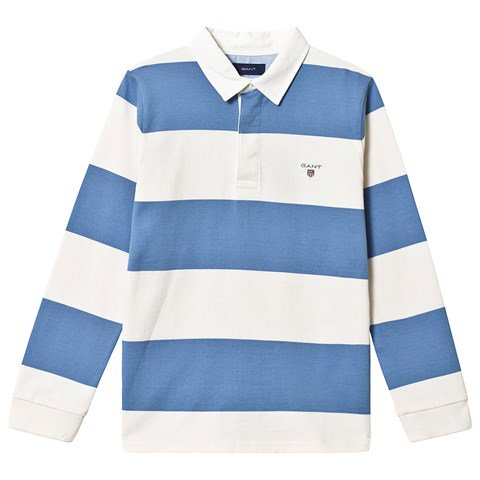 Gant Blue and White Bar Stripe Branded Rugby Top