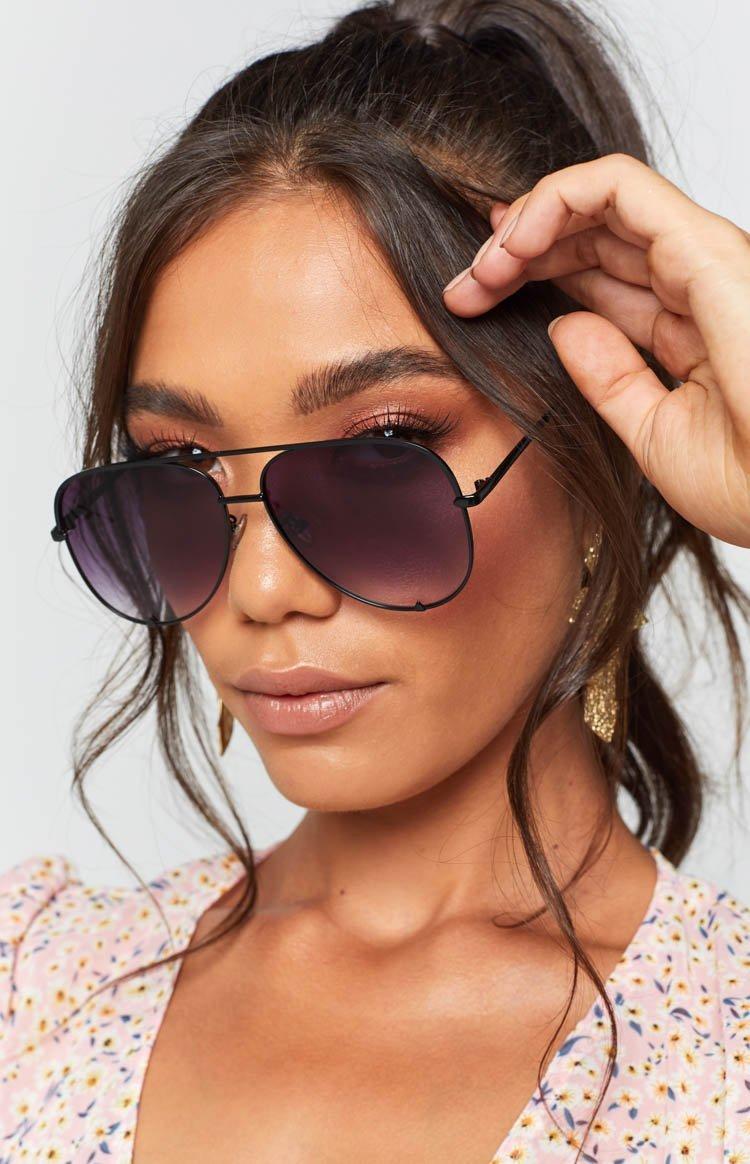 Eclat High Shine Sunglasses Black Grey