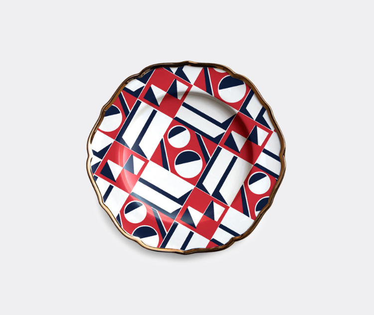 'Geometrico' dessert plates, set of two