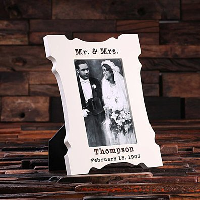 4 x 6 Personalized White Wood Engraved Monogrammed Wedding or Anniversary Portrait Frame