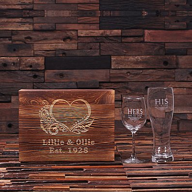 Personalized His and Hers Mr. and Mrs. Wine Glass and Beer Glass With Wood Gift Box