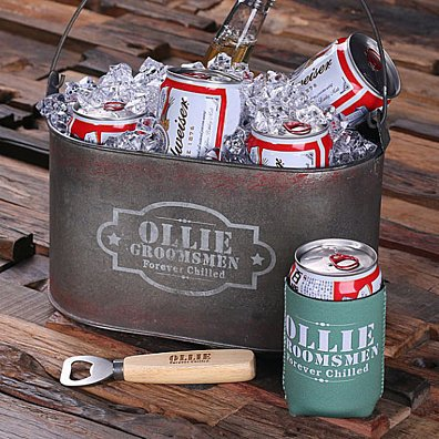 Personalized Six Pack Beer Holder Ice Bucket Tote Caddy with Beer Can Holder and Wood Beer Bottle Opener Groomsmen Gift