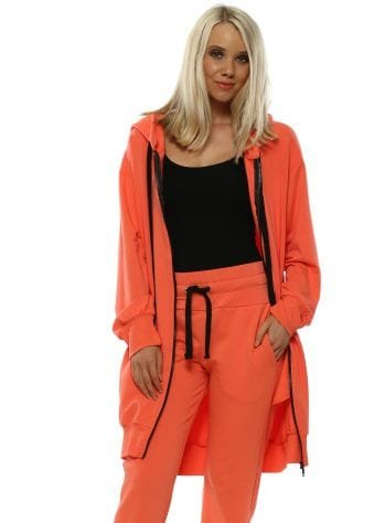 Amber Coral Hooded Jersey Coat