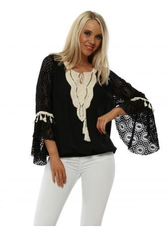 Black Top With Flared Lace Sleeves