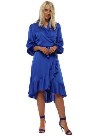 Royal Blue Satin Wrap Frill Dress