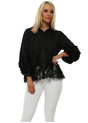 Black Lace Embroidered Blouse