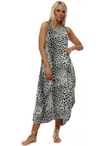 Grey Cheetah Print Parachute Dress