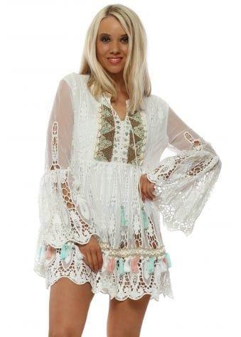 White Lace Crochet Beaded Beach Tunic