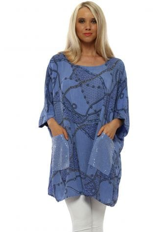 Blue Chain Print Slouch Top