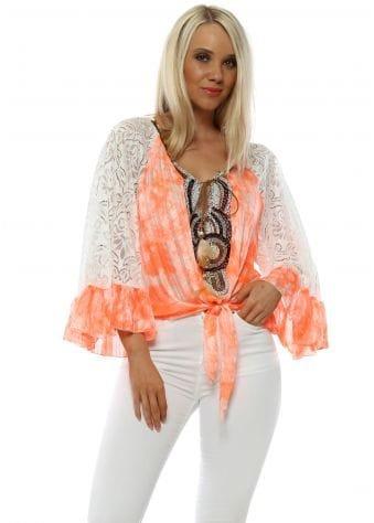 Neon Orange Lace Sleeve Beaded Tie Top