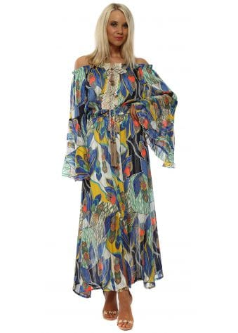Blue Print Bell Sleeve Bardot Maxi Dress