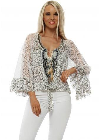Beige Leopard & White Lace Beaded Tie Top