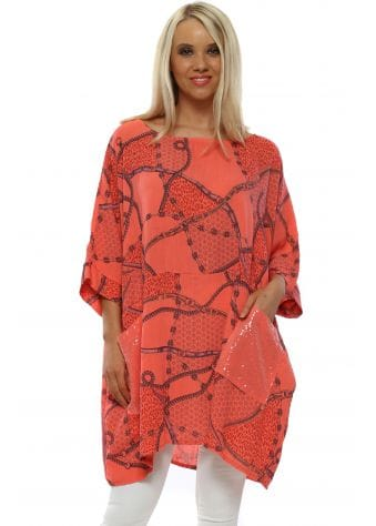 Coral Chain Print Slouch Top