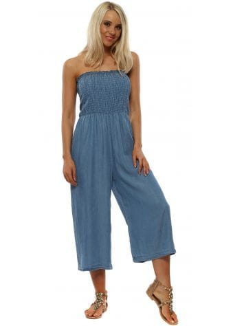 Soft Blue Denim Cropped Jumpsuit