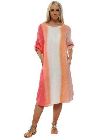Sherbet Stripe Casual Linen Dress