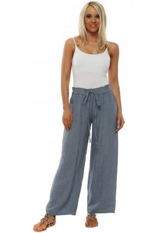 Blue Linen Wide Leg Trousers