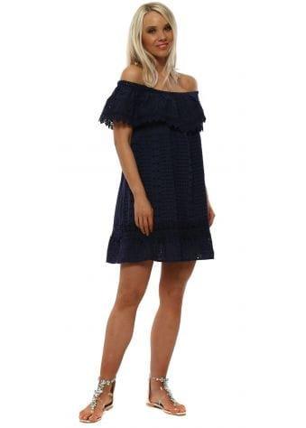 Navy Broderie Anglaise Bardot Mini Dress