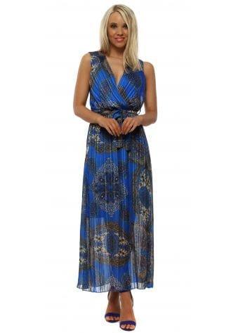 Royal Blue Paisley Print Sleeveless Maxi Dress
