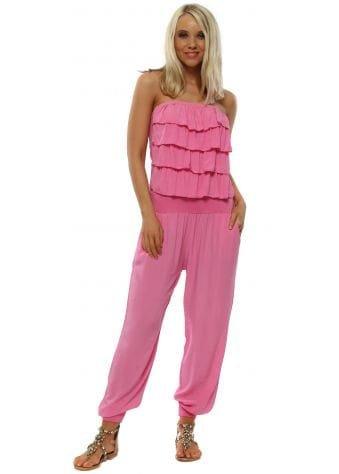 Pink Jersey Frill Bandeau Jumpsuit